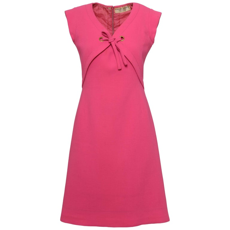 1960s PIERRE CARDIN Boutique Shocking Pink Mod Dress