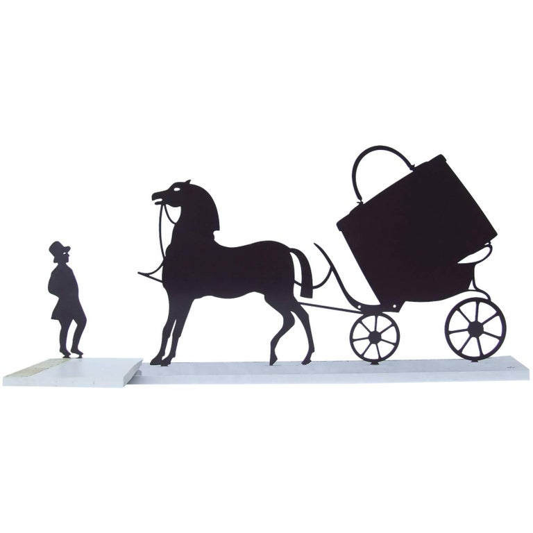 Hermes Logo Carriage Coachman And Horse In Metal