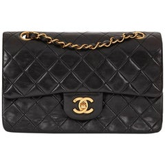 1990s Chanel Black Quilted Lambskin Vintage Small Classic Double Flap Bag