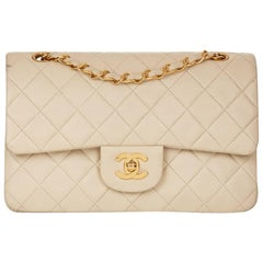 1990s Chanel Ivory Quilted Lambskin Vintage Small Classic Double Flap Bag
