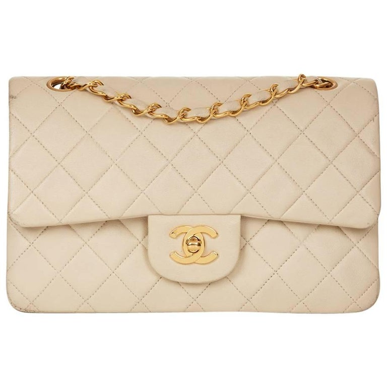 19d755c20282 1990s Chanel Ivory Quilted Lambskin Vintage Small Classic Double Flap Bag.  1990s Chanel Beige Lambskin Vintage Timeless Shoulder Tote