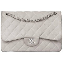 2012 Chanel Grey Quilted Caviar Suede Jumbo Classic Double Flap Bag