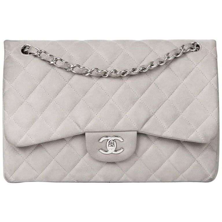 2012 Chanel Grey Quilted Caviar Suede Jumbo Classic Double Flap Bag For Sale