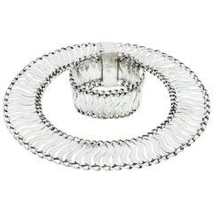 William Spratlig Mexican Silver Linked Wave Necklace and Bracelet