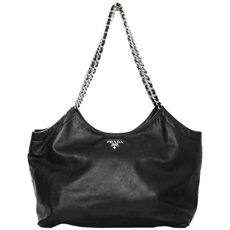 499554b401ef Prada BR4487 Black Calfskin Leather Chain Tote Bag For Sale at 1stdibs