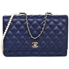 Chanel '16 Navy Lambskin Leather Large Fantasy Pearls Crossbody Flap Bag