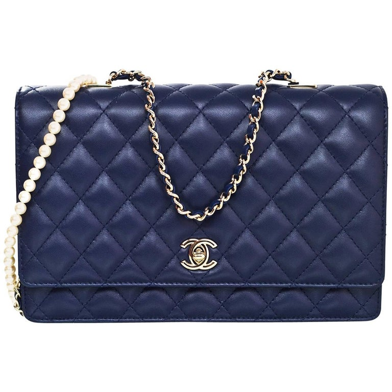 Chanel 16 Navy Lambskin Leather Large Fantasy Pearls