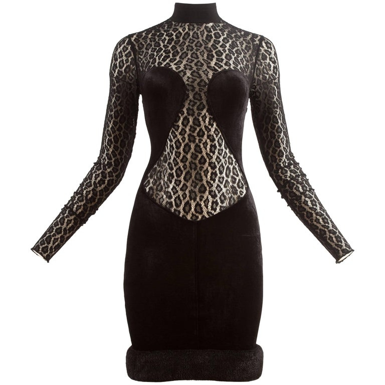 Alaia Autumn-Winter 1991 black velvet leopard lace evening dress 1