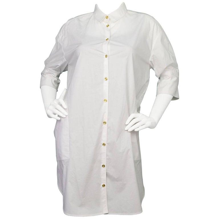 Acne White Button Up Lash Tech Shirt Dress Sz Fr32 For