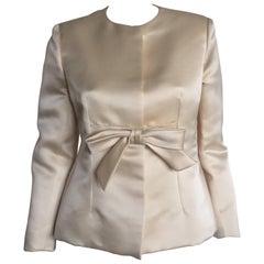 Bill Blass Ivory Satin Bow Jacket