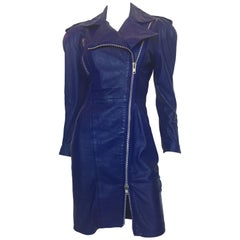Michael Hoban North Beach Leather Purple / Blue Moto Dress with Zippers, 1980s