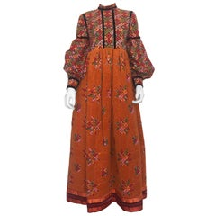 Geoffrey Beene 60's Orange Multi-Color Dress With Quilted Skirt