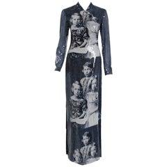 1998 Alexander McQueen 'Joan' Romanov' Sequin Print Long-Sleeve Runway Gown