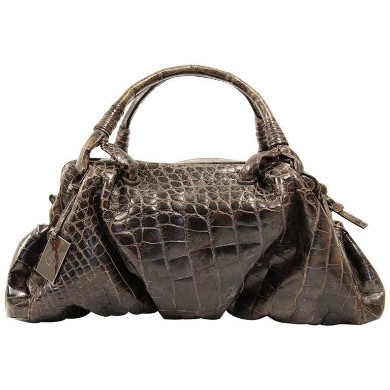 1f0024227bc 2000s Giorgio Armani Brown Crocodile Leather Bag For Sale at 1stdibs