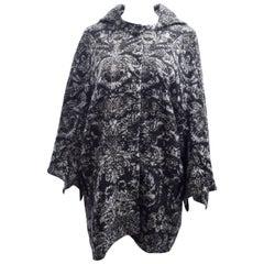Stella McCartney Grey Brocade Pattern Cocoon Coat with Geometric Sleeves