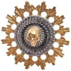 Alexander McQueen Gold Mechanical Wheels Ring with Skull and Silver Roundel