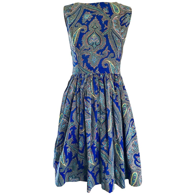 1950s Gorgeous Blue Paisley Fit n' Flare Vintage 50s Sleeveless Silk Dress