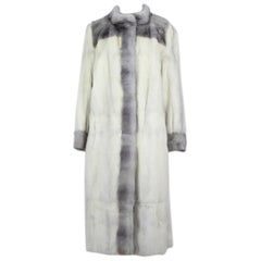 Julius Schmickler Off-White And Grey Cross And Sapphire Mink Fur Coat, 1970s