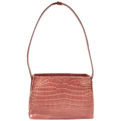 2000s Dotti Pink Crocodile Leather Shoulder Bag