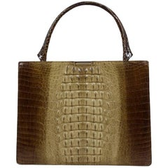 Shades of Beige and Brown Crocodile Print Leather Top Handle Bag Purse, 1960s