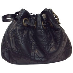 Christian Dior Cannage Quilted Black Satchel