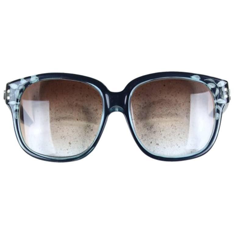 Emmanuelle Khanh Oversized Blue Black Model 8080 Sunglasses, 1970s