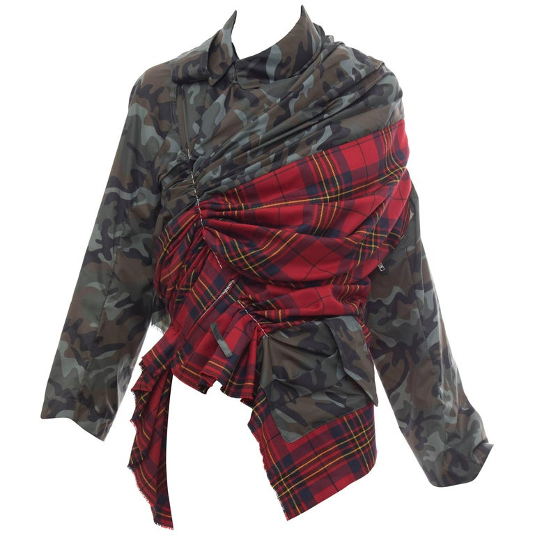 Comme des Garcons Nylon Camouflage Wool Tartan Plaid Jacket, Spring 2006