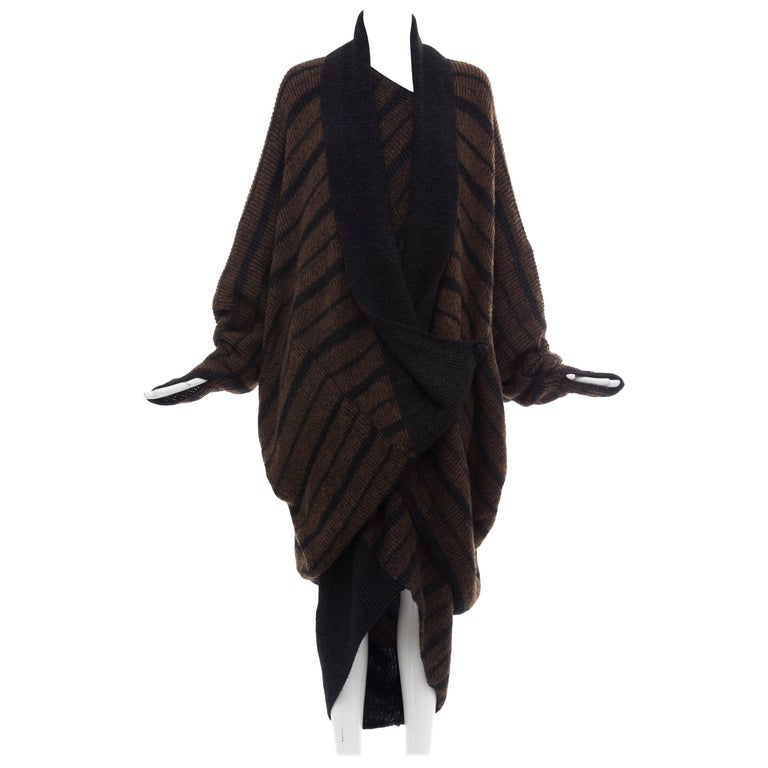 Issey Miyake Striped Wool Sweater Dress Cocoon Cardigan Ensemble, Circa 1970s For Sale