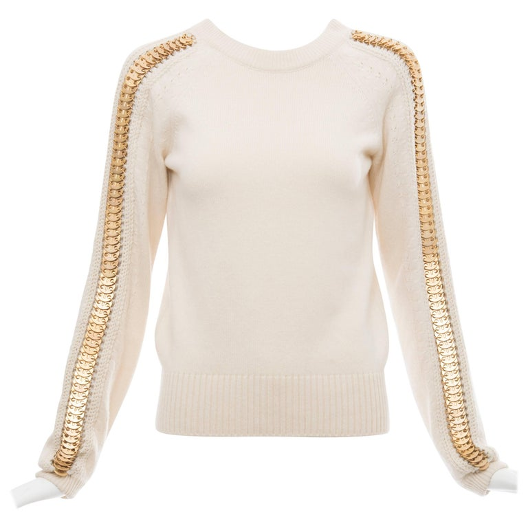Paco Rabanne Cream Wool Cashmere Matte Gold Disc Sleeve Crew Neck Sweater