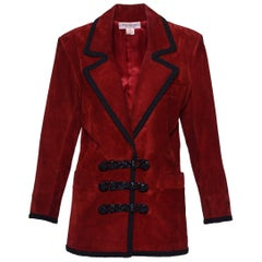1980s YVES SAINT LAURENT Rive Gauche Red Suede Leather Jacket