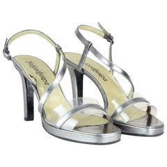 Yves Saint Laurent Unworn Silver Metallic Leather And PVC Strap Sandals, 1970s