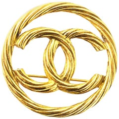 Chanel Vintage Goldtone Textured CC Brooch Pin