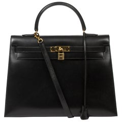 Hermes Kelly Sellier 35 in black box leather