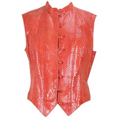 Rupp & Taureck Couture 1990s Strawberry Red Snakeskin Vest