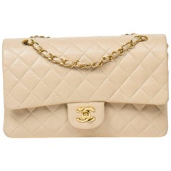 Chanel Classic Double Flap in beige quilted calf leather