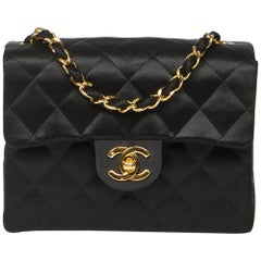 Chanel Mini Single Flap Single Strap in black quilted satin canvas