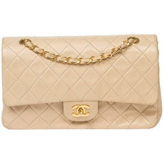 Chanel Classic Double Flap 26 in beige quilted calf leather