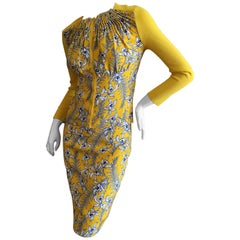 Oscar de la Renta Yellow Silk Floral Skirt Suit