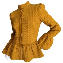 Alexander McQueen Mustard Color Bell Sleeve Cable Knit Sweater Jacket