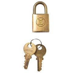 Louis Vuitton Vintage Brass Logo Lock & Keys