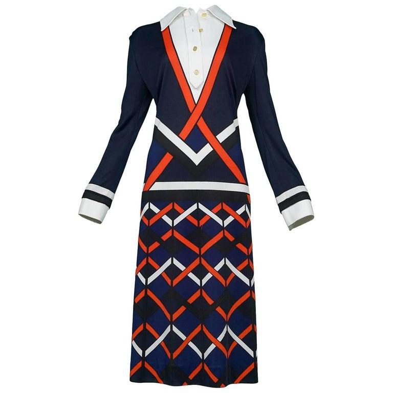 Roberta di Camerino Trompe Blue, Black, Red & White Chevron Day Dress
