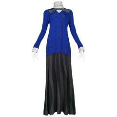 Roberta di Camerino Blue Grey & Black Bow Maxi Dress