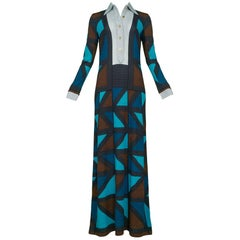 Brown Teal & Blue Color Block Maxi Dress