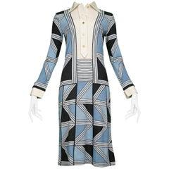 Roberto Di Camerino  Blue, Black & Grey GEO Day Dress