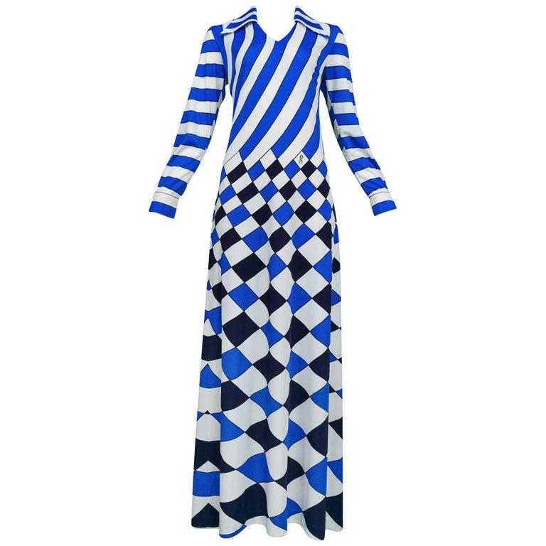 Roberta di Camerino Trompe Blue, White, & Black Check Maxi Dress