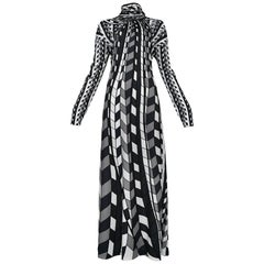 Roberta di Camerino Black, Grey & White Check Turtle Neck Scarf Maxi Dres