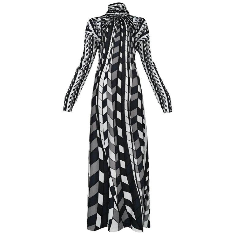 Roberta di Camerino Black, Grey & White Check Turtle Neck Scarf Maxi Dres