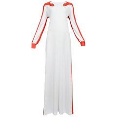 Roberto Di Camerino  Red & White Buckle Maxi Dress