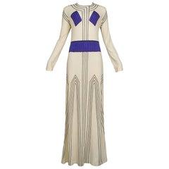 Cream & Purple Grecian Maxi Dress