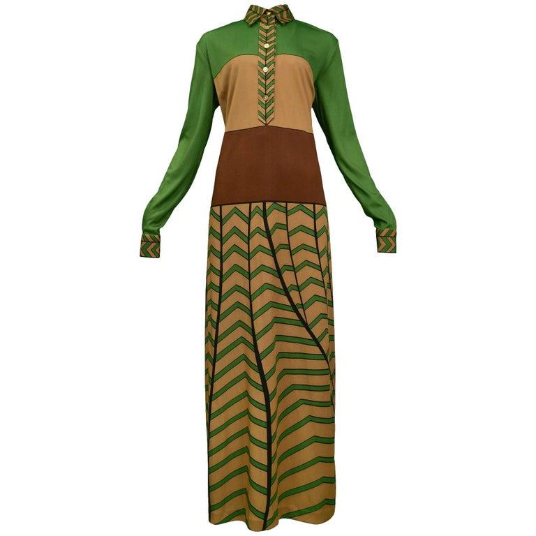 Tan Brown & Green Zig Zag Maxi Dress